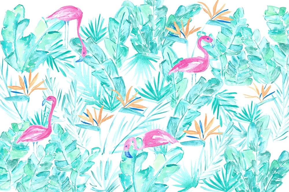 Custom Watercolor Flamingo Fabric