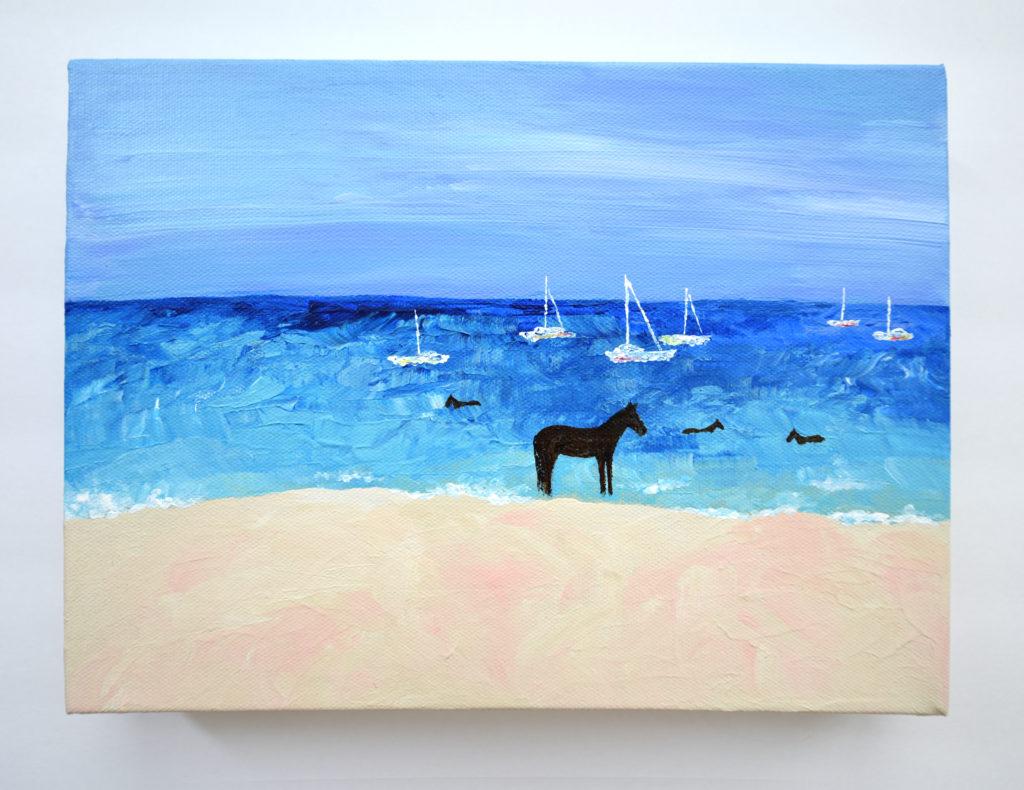 Barbados Horses Acrylic Painting