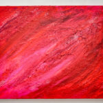 Abstract Acrylic Painting Red Pink Glitter