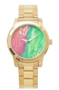 Green and Orange Abstract Painting Gold Watch