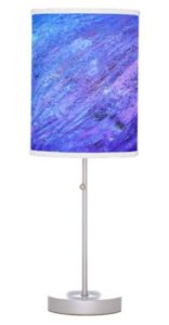 Purple and Blue Abstract Painting Table Lamp