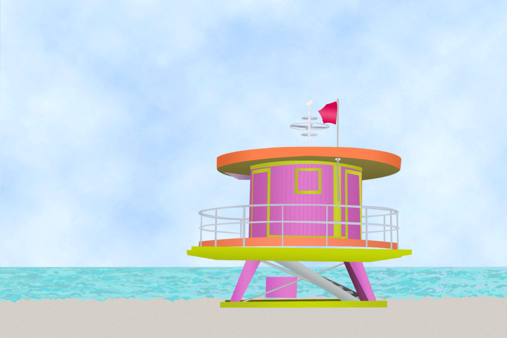 Miami Lifeguard Tower Illustration