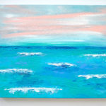 Beach Acrylic Painting with Pastel Sunset