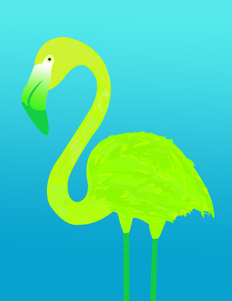 Chartreuse Flamingo Illustration
