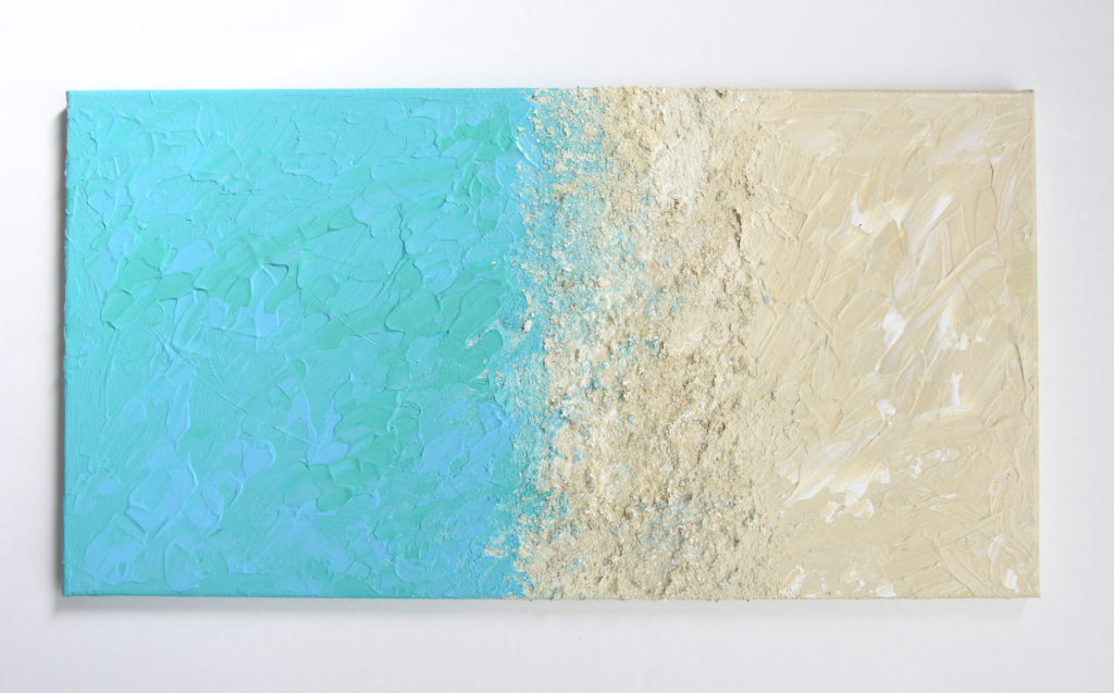 Blue and Tan Abstract Painting Acrylic with Glitter
