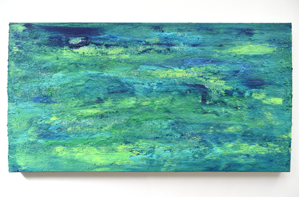 Blue and Green Abstract Acrylic Painting with Glitter