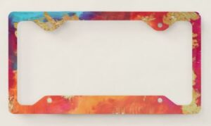 Abstract Painting License Plate Frame