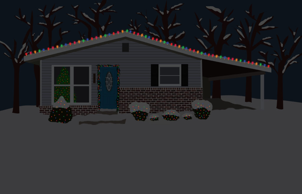House Illustration with Christmas Lights