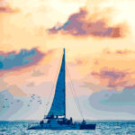 Turks & Caicos Sailboat at Sunset Illustration