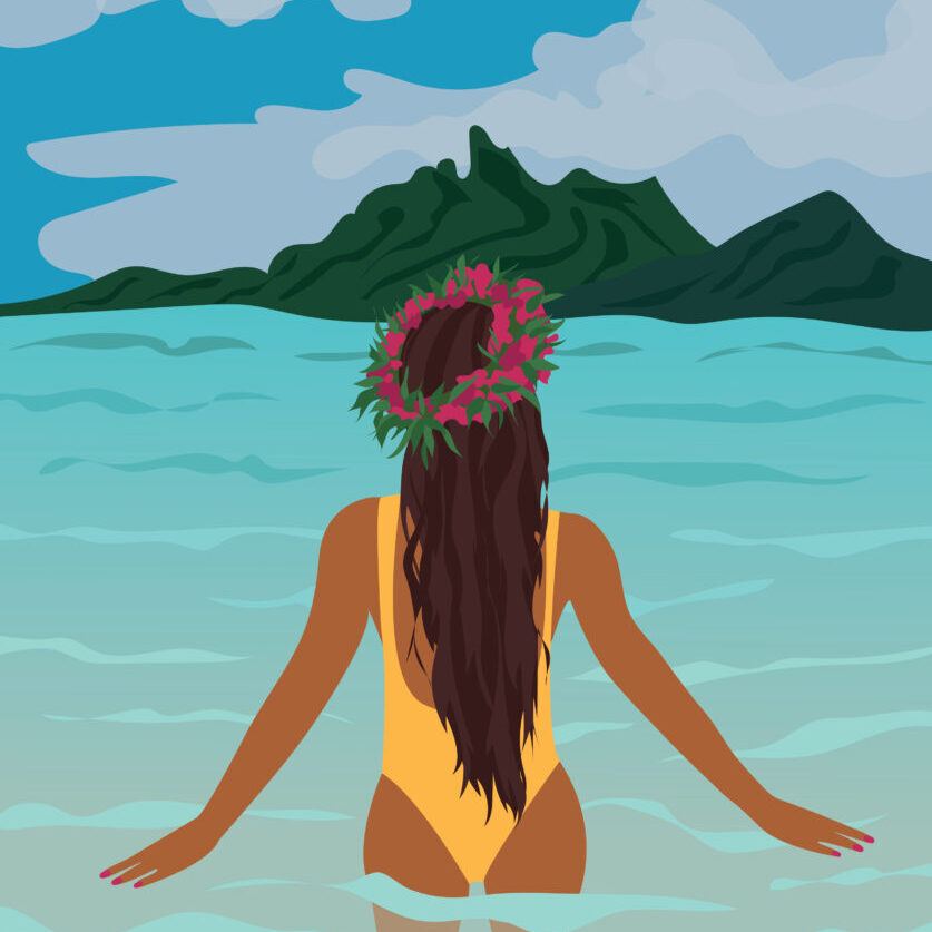 Bora Bora Island Girl Digital Illustration